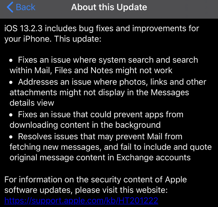 Apple Releases iOS 13.2.3