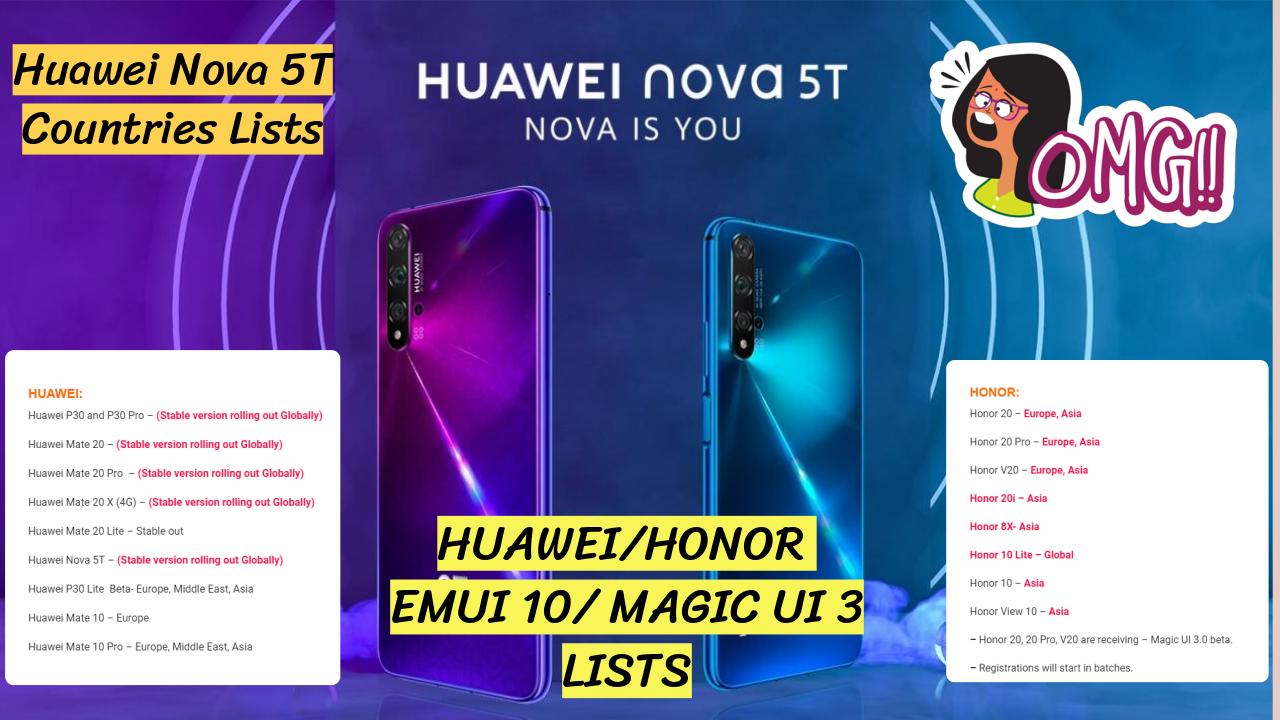Huawei Nova 5T launched + EMUI 10.0/Magic UI 3 beta Lists